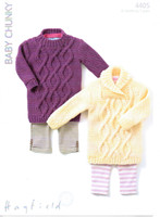 Sweater Dresses Chunky Knitting Patterns | Sirdar Hayfield Baby Chunky 4405