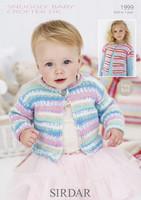 Babies / Girls Single Button Cardigan DK Pattern | Sirdar Snuggly Baby Crofter DK 1999