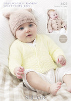 Babies / Childs Cardigans with T-Bag Hat DK Patterns |Snuggly Baby Cotton DK 4422