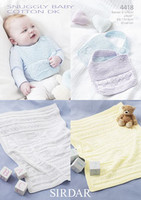 Baby Bib and Blankey Patterns | Sirdar Snuggly Baby Cotton DK 4418