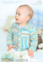Baby / child cardigans and bootees in sirdar snuggly crofter DK - 1256