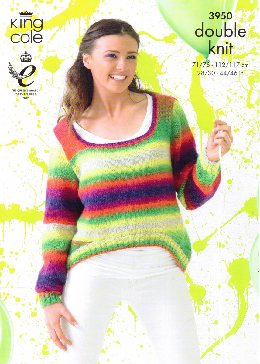 66ddfe646a60c2 DK Pattern for a Simple Collared Jacket and Shaped Sweater - King Cole Riot  3950 -