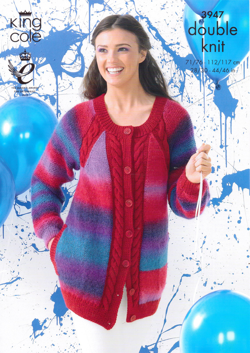 8a5b99aa3c9664 DK Pattern for Cabled Cardigan and Sweater - King Cole Riot 3947 - Image 1