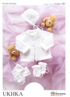 Baby Matinee Jacket, Bonnet, Mitts and Booties DK Pattern   UKHA40   Sirdar Snuggly DK