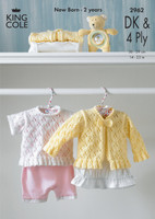 Baby Top and Cardigan 4 Ply and DK Pattern | King Cole 4 Ply and DK | 2962