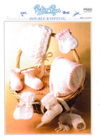 Baby Bonnet, Booties and Mitts DK Pattern   Peter Pan DK 669