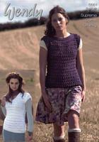 Ladies Slash & V Neck Sweater Chunky Patterns   Wendy Supreme Cotton Chunky 5661