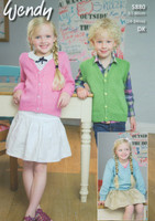 DK Pattern for Childs V Neck Sweater, Cardigan and Waistcoat in Wendy Supreme Cotton DK - Pattern 5880