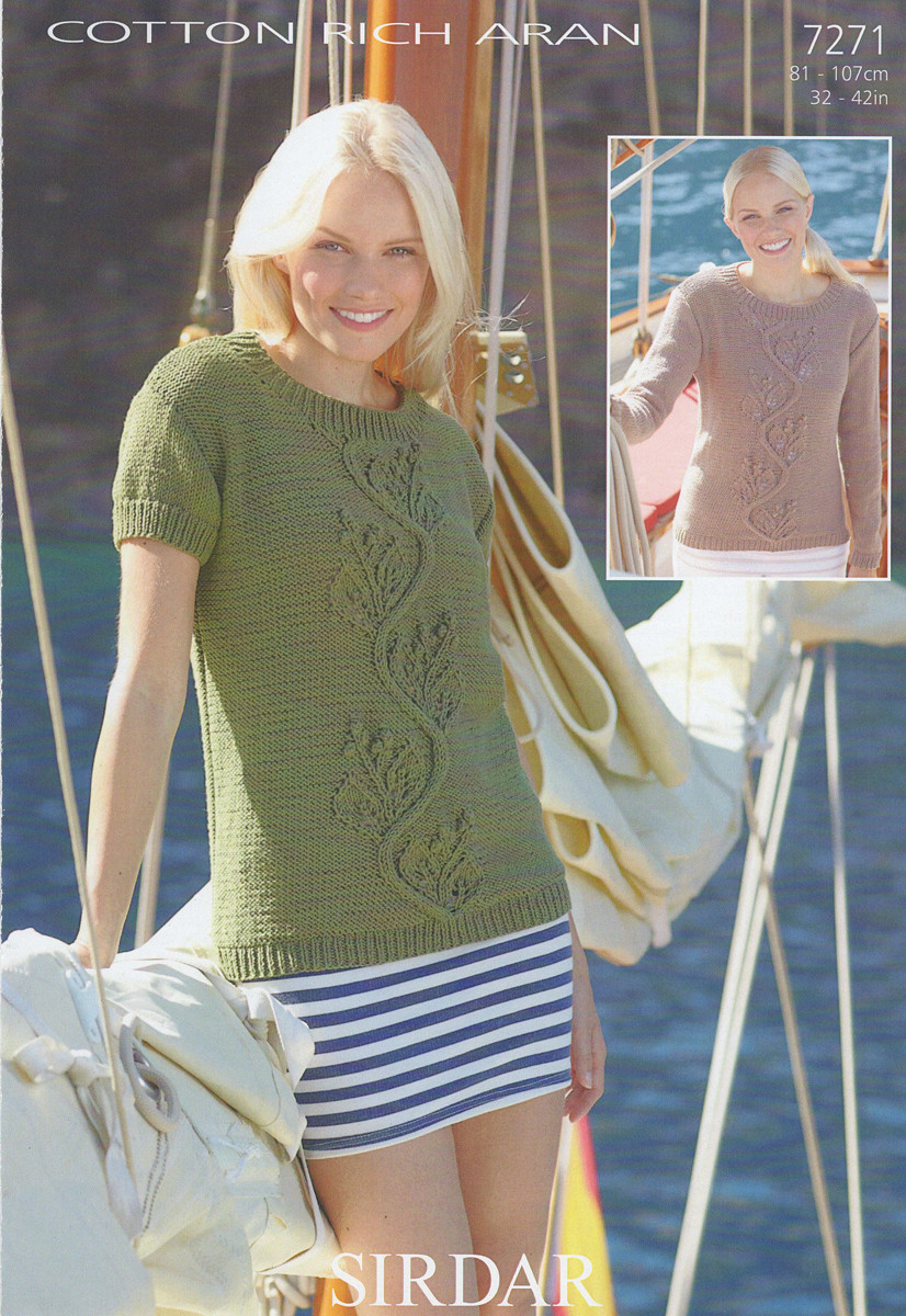 95cddc336 Sirdar Cotton Rich Aran Pattern for Womens Sweaters - 7271