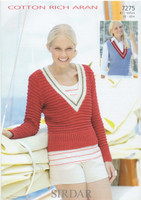 Ladies V Neck Sweater Aran Pattern    Sirdar Cotton Rich Aran 7275