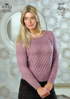 Lacy Sweater and Top 4 Ply Pattern | King Cole 4 Ply | 3525 - Image