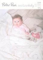 4ply Pattern for Babys Sweetheart Shawl - Peter Pan Merino 4ply 1230