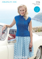 Knitting pattern for a lace panel top in Sirdar Amalfi dk yarn - 7776
