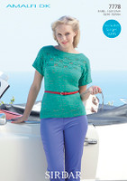 A classic 50's style t shirt pattern designed for Sirdar Amalfi Dk -7778