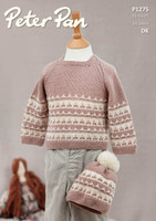 Pattern for Childrens' Patterned Sweater and Hat in Peter Pan Merino Baby Dk | 1275