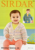 Pattern for Baby / Childs Cardigans | Sirdar Snuggly Rascal DK 4772