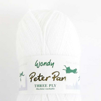 Peter Pan 3 Ply Baby Knitting Yarn 100g Balls | 0300 Pure White