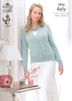 Ladies Vest Top and Cardigan 4 Ply Pattern | King Cole Bamboo Cotton 4 Ply | 3924 - Image