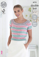 Ladies Tops DK Knitting Pattern | King Cole Cottonsoft Crush 4772 front