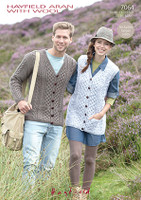 Cabled Adults Cardigan & Waistcoat Aran Pattern | Hayfield Aran 7064 - Main Image