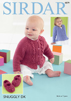 Dk Pattern for Babies / Girls Cardigans / Bootees - Sirdar Snuggly Dk 4879