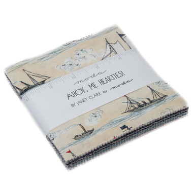 Ahoy Me Hearties Fabric Pattern | Janet Clare | Moda Fabrics | Layer Cake Pack - Main Image