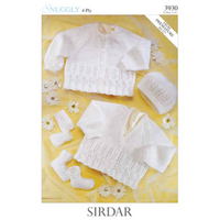 4 ply pattern for Hat, Cardigan, Mitts and Booties | Sirdar Snuggly 4ply | 3930