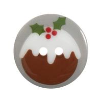 Christmas Printed Button: Christmas Pudding: 36 Lignes/23mm