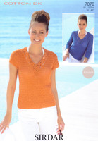 Crocheted Top and Sweater DK Pattern   Sirdar Cotton DK 7070