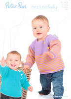 Yoked Sweaters, Pinafore Dress and Hat DK Pattern | Peter Pan Merino Baby DK 1183