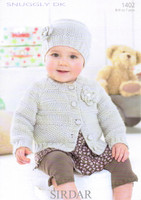 Baby / Girls Pattern for Cardigan & Hat Pattern | Sirdar Snuggly DK 1402
