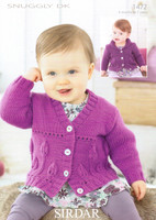 Baby Girls Leaf Covered Cardigan Knitting Pattern | Sirdar Snuggly DK 1472 - Main image