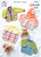 Baby / Childs Sweater, Cardigan and Dress DK Pattern | King Cole DK | 3353 - Image one