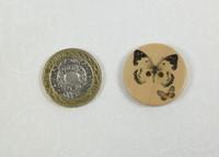 Printed Wooden Buttons Butterflies Pattern - 48 lignes / 30mm