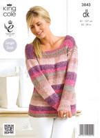 Scoop Neck Sweaters DK Knitting Pattern | King Cole Shine DK 3843