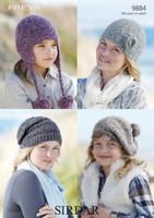 Girls / Ladies Hats Chunky Knitting Pattern | Sirdar Freya Chunky 9884