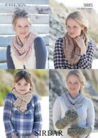 Girls / Ladies Scarves and Mittens Knitting Pattern | Sirdar Freya 9885