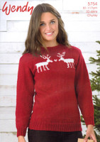 Chunky Sweater with Two Reindeer in Love Pattern | Wendy Merino Chunky 5754