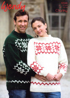 Sweater Knitting  Pattern with Snowflakes | Wendy Mode Chunky 5598 - Main image