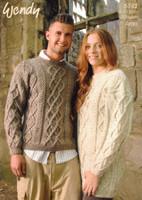 Sweater and Tunic Aran Knitting Pattern | Wendy Aran 5742