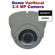 CCTV Dome Camera 1080p Sony Starvis 2.4MP Varifocal Lens Night Vision for HD TVI CVI AHD Analogue DVR Outdoor (Grey)
