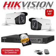 KIT: 4 Channel HIKVISION DS-7204HUHI-K1 DVR Recorder 5MP HD TVI & 2x HIKVISION DS-2CE16H1T-IT3 Bullet Camera CCTV