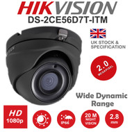 HIKVISION DS-2CE56D8T-ITM Dome Camera 1080p 2MP Fixed Lens IR Range 20M HD TVI TURBO EXIR WDR In/Out door (Grey)