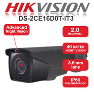 HIKVISION DS-2CE16D0T-IT3 Bullet Camera 1080p 2.0MP Fixed lens IR Range 40M HD TVI Turbo In/Out door (Grey)