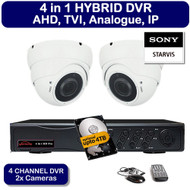 KIT: 4 Channel 4 in 1 HYBRID DVR Recorder HD & 2x Dome Camera Sony Starvis 1080p 2.4MP Varifocal lens CCTV (White)