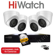 HiWatch 204G-F1 4 Channel DVR Recorder & 4x HiWatch THC-T220 Dome Cameras