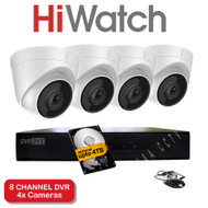 HiWatch 208G-F1 8 Channel DVR Recorder & 4x HiWatch THC-T220 Dome Cameras