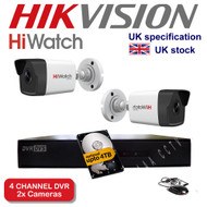 4 Channel HiWatch 204G-F1 DVR Recorder HD & 2x HiWatch Bullet Camera THC-B220 1080p 2MP 40M Night Vision HYBRID CCTV (White)