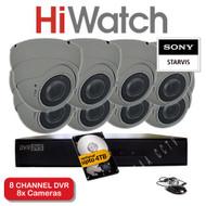 HiWatch 208G-F1 8 Channel DVR Recorder & 8x Varifocal Dome Cameras 30M Night Vision 2.4MP HYBRID Sony Starvis