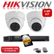 KIT: 5MP 4 Channel HIKVISION DS-7204HUHI-K1 DVR Recorder & 2x 5 MP Fixed lens Sony ViperPro Dome Camera 1080p 2.4MP 20M Night Vision HYBRID CCTV (White)